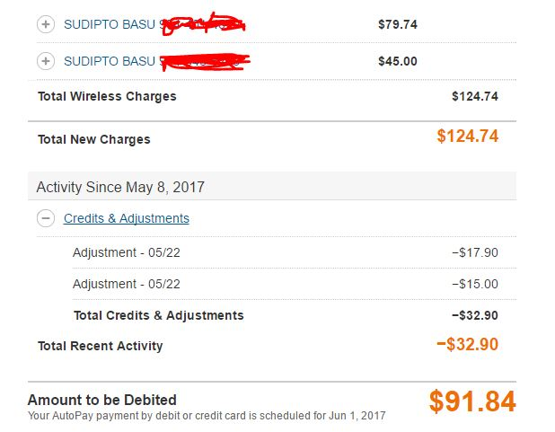 Revised ATT Bill for the current month after applying discount
