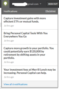 Personal Capital Notification Window